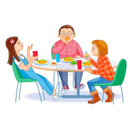 Illustration pour Des enfants heureux qui déjeunent seuls. Deux filles et un garçon qui mangent le matin à table. Concept de nutrition infantile. Illustration vectorielle pour bannière, affiche, site web, flyer . - image libre de droit