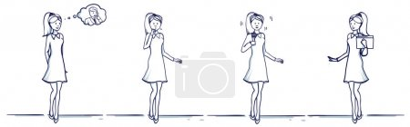 Set of business woman cartoon illustration. Stands...