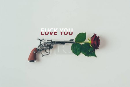 Top view of red rose in gun barrel with words love you fuck you isolated on white