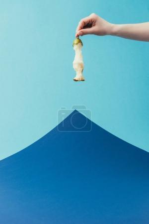 Photo pour Vue partielle de la femme tenant le cœur de poire dans la main sur fond bleu - image libre de droit