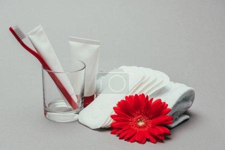 Photo pour Gros plan sur hygiène, fleur et serviette isolé sur fond gris - image libre de droit