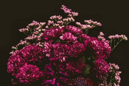 Photo for Close-up view of beautiful tender pink flowers isolated on black - Royalty Free Image