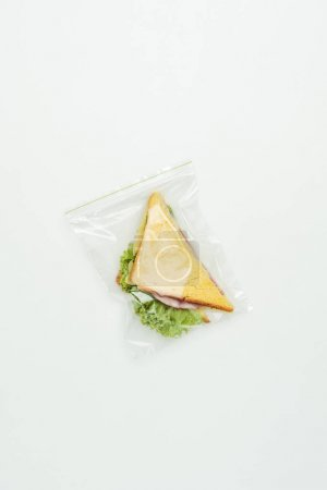 top view of sandwich in polythene ziplock bag isolated on white