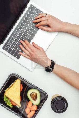 cropped image of woman using laptop at table with food in lunch box isolated on white