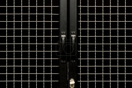 Black doors with handles and metal grit