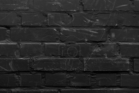 Photo pour Mur de briques peinte dans la couleur noire - image libre de droit