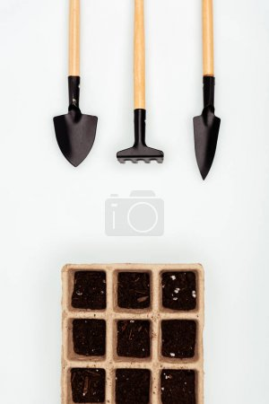 top view of flower pots with garden shovel, rake and hoe isolated on white, earth day concept
