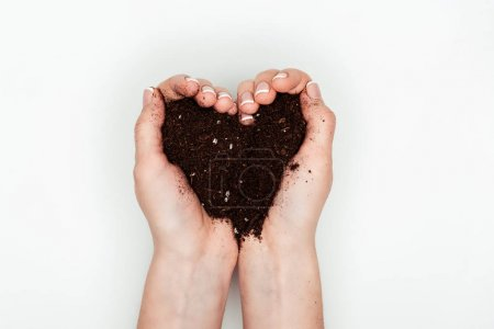 cropped image of woman holding heart shaped soil in hands isolated on white, earth day concept