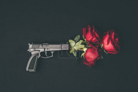 Red roses in gun barrel isolated on black