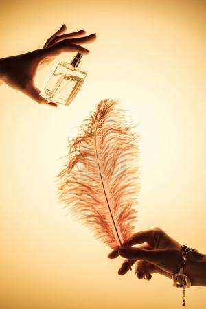cropped view of woman spraying perfume on feather to feel fragrance, isolated on yellow