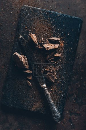 top view of vintage knife, chocolate pieces and cocoa powder on slate board