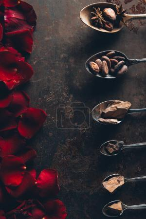 Photo for Top view of spoons with chocolate pieces, cocoa beans and star anise and red rose petals on dark surface - Royalty Free Image