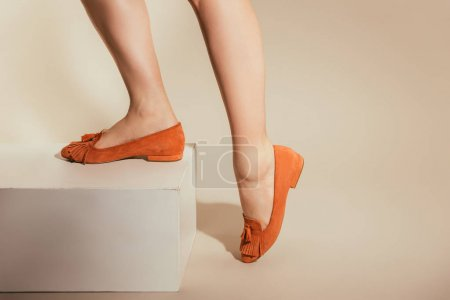 Photo for Cropped image of female legs in stylish slipper shoes on beige background - Royalty Free Image