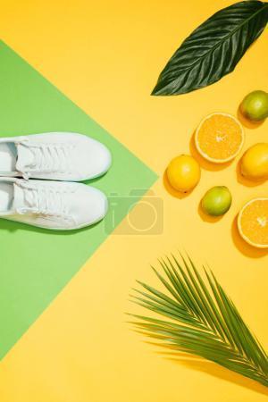 Foto de Vista superior de las zapatillas de deporte mujer elegante, tropicales deja, limones, limas y rodajas de naranja - Imagen libre de derechos