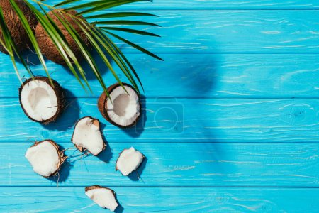 top view of coconuts and green palm leaves on turquoise wooden surface