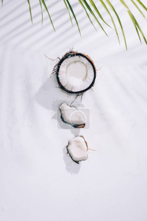 top view of pieces of delicious healthy coconut and green palm leaves on white