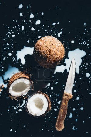 top view of coconuts, knife and coconut milk on black