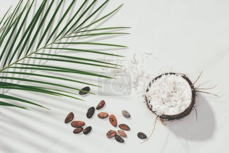 top view of half of coconut with shavings and cocoa beans with green palm leaves on white
