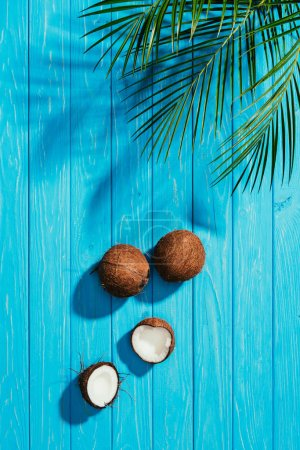 top view of whole and cracked coconuts and green palm leaves on blue wooden surface