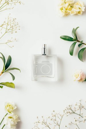 Photo for Top view of bottle of perfume surrounded with flowers and green branches on white - Royalty Free Image