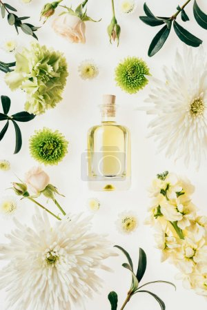 Photo for Top view of bottle of aromatic perfume surrounded with flowers and green branches isolated on white - Royalty Free Image