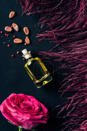 Photo for Top view of bottle of perfume with red feather and rose bud on black - Royalty Free Image
