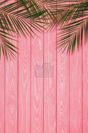 Photo for Top view of palm leaves on pink wooden surface - Royalty Free Image