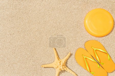 top view of sea star, yellow flip flops and flying disk on sand