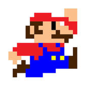 Classic pixel Mario bros running  Mario character video game franchise created Nintendo