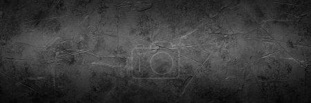 Photo pour Texture en pierre de béton vide noire. Ardoise noire. Longue bannière . - image libre de droit