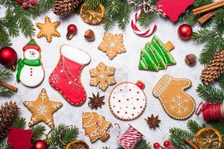 Pain d'épice de Noël et décorations de Noël