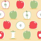 A  seamless repeat pattern of apples in the Scandinavian style This is a scalable and editable vector drawing