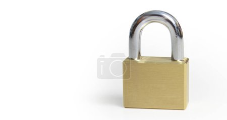 Photo pour Verrouillage sur fond blanc et concept de protection sécurité - image libre de droit