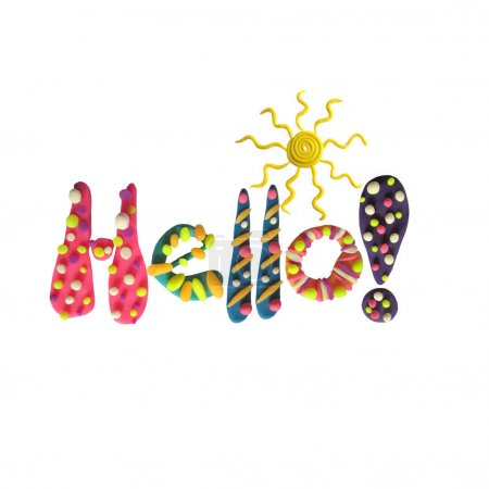 Sculpt word Hello. Funny letters make from plasticine isolated on white background.