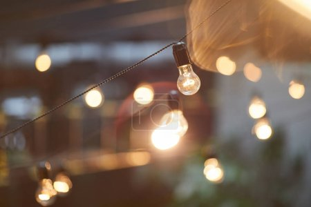 Photo for Background image of outdoor lighting garlands , focus on retro light bulb with wiring, copy space - Royalty Free Image