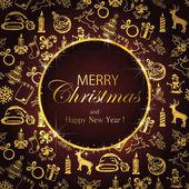 Veselé Vánoce na pozadí s zlaté zdobení
