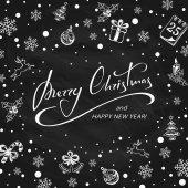 Veselé Vánoce s dekorací na černé tabuli pozadí