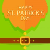 Background of green leprechaun costume with buttons belt buckle and red beard holiday lettering Happy St Patricks Day illustration