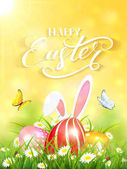 Yellow background with rabbit and three Easter eggs in grass
