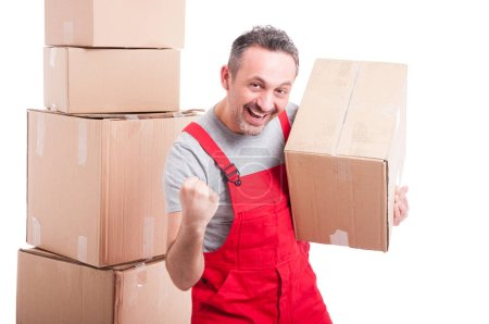 Happy mover guy holding box and making winning gesture