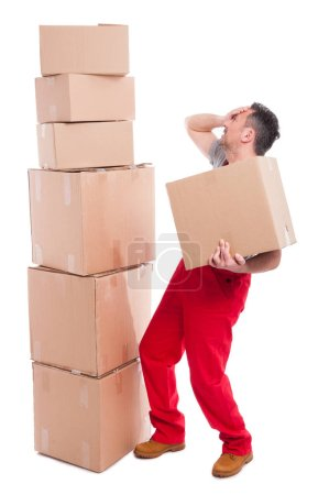 Full body of mover guy making face palm gesture