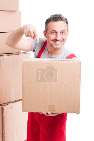 Mover guy pointing a big cardboard box