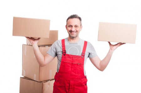 Mover man holding boxes with both hands