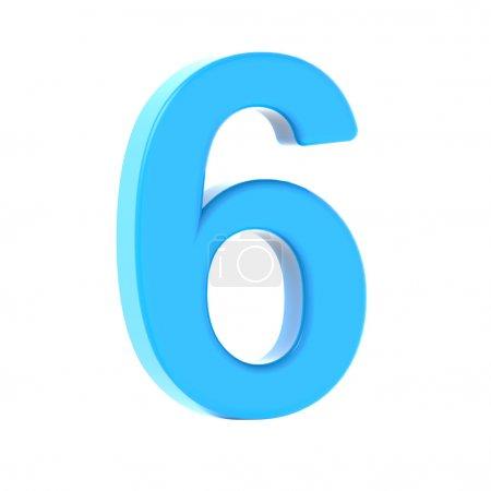 Photo pour 3D gauche penchée lumière bleue numéro 6, graphique de rendu 3d isolé fond blanc - image libre de droit