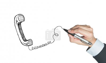traditional telephone drew by hand