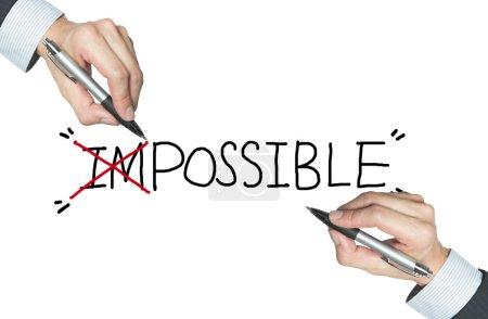 Photo pour Impossible écrit à la main, avec les deux premiers alphabets annulés - image libre de droit