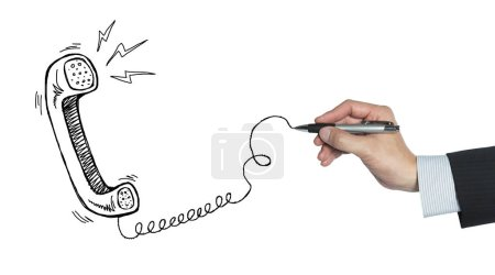 Photo pour Téléphone traditionnel dessiné à la main, isolé sur fond blanc - image libre de droit