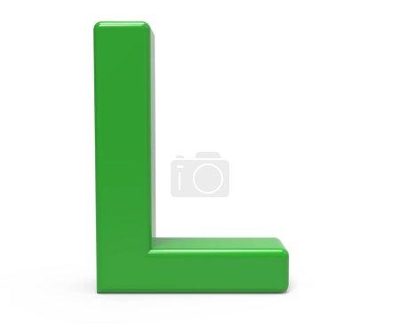 Photo pour 3d rendant la lettre verte L isolé fond blanc - image libre de droit
