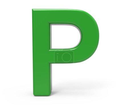 3d verde letra P