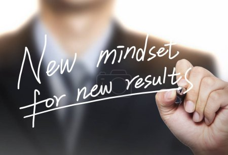 Photo for New mindset for new results written by hand written by hand, hand writing on transparent board, photo - Royalty Free Image